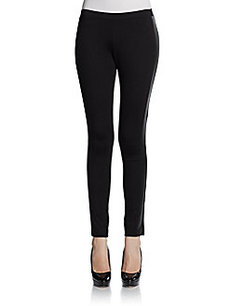Saks Fifth Avenue BLACK Faux Leather Tuxedo Striped Leggings