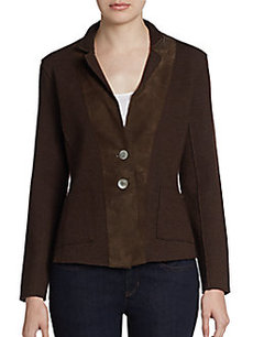 Eileen Fisher Suede-Trim Fitted Blazer
