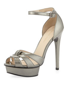 Pelle Moda Avi Patent Leather Peep-Toe Sandal, Slate