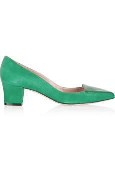 Oscar de la Renta Riley suede and patent-leather pumps