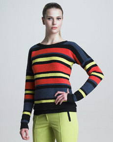 Jason Wu Crochet-Striped Pullover