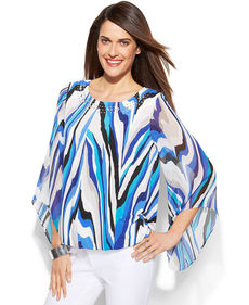 Alfani Angel-Sleeve Printed Bubble Top