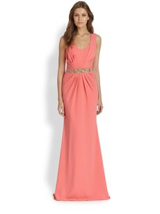 Badgley Mischka Pleated Beaded-Waist Gown