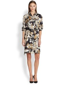 Etro Silk Toile Mixed-Print Shirtdress