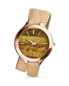 Michael Kors Rose Gold–Tone & Leather Slim Runway Watch, 42mm