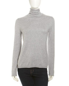 Joan Vass Roll-Trim Turtleneck, Gray