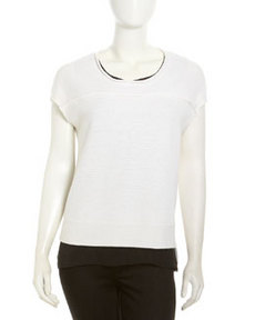 Robert Rodriguez Cap-Sleeve Sweater & Chiffon Top, Ivory