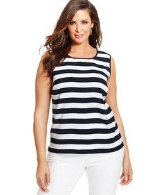 Jones New York Collection Plus Size Sleeveless Striped Top