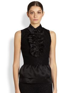 St. John Lace & Satin Peplum Top