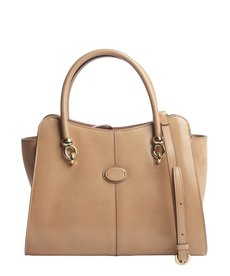Tod's nude leather suede side detail top handle bag