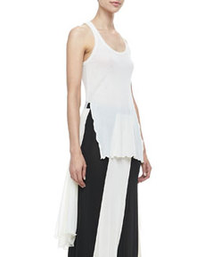 Sheer High-Low Solid Tank, Cream   Sheer High-Low Solid Tank, Cream