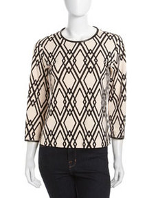 Isaac Mizrahi Diamond-Print Ponte Three-Quarter Sleeve Top