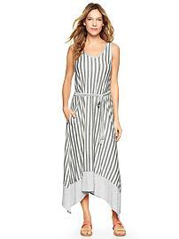 Stripe trapeze midi dress