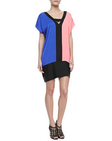 Colorblock Stretch-Silk Dress   Colorblock Stretch-Silk Dress