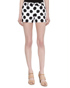 Michael Kors Dotted Ikat Print Shorts, Black/Optic White