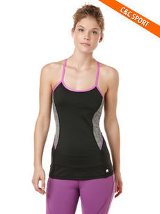 velocity color block/melange running tank with bra