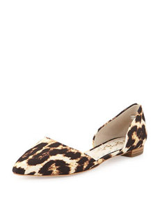Alice + Olivia Hilary Flat Leopard-Embossed d'Orsay Flat, Gray (Stylist Pick!)