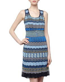 Laundry by Shelli Segal Mixed Zigzag Crochet Knit Dress, Tide Pool