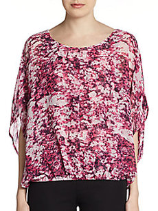 Ellen Tracy Printed Dolman Chiffon Top