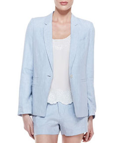 Mehira B Linen One-Button Blazer, Chambray   Mehira B Linen One-Button Blazer, Chambray