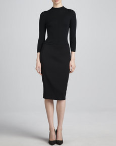 Escada Ribbed-Bodice Dress, Black