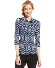 Charter Club Three-Quarter-Sleeve Printed Button-Down Top