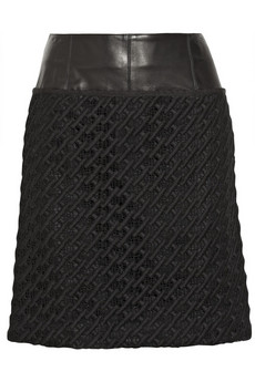Derek Lam Leather-trimmed embroidered cotton-lace skirt