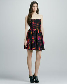 Shoshanna Strapless Printed Full-Skirt Dress