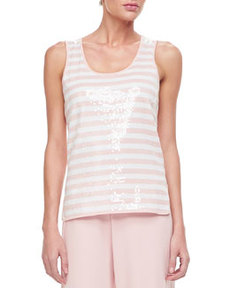 Joan Vass Sequin Stripe Tank