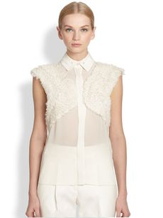 Jason Wu Silk Chiffon Ruffle Panel Top