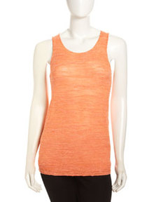 Lafayette 148 New York Melange Knit Tank Top, Orange