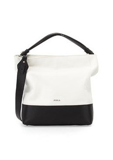 Furla Amalfi Colorblock Medium Hobo Bag, Onyx/White