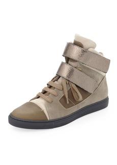 Brunello Cucinelli Suede High-Top Sneaker, Taupe/Gunmetal