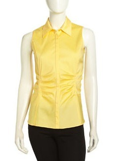 Lafayette 148 New York Georgina Stretch Ruched Sleeveless Blouse, Soleil
