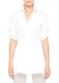 Akris punto Cotton Blouse with Drawstring Waist, White