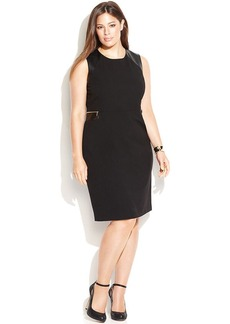 Calvin Klein Plus Size Faux-Leather-Trim Zipper-Detail Dress