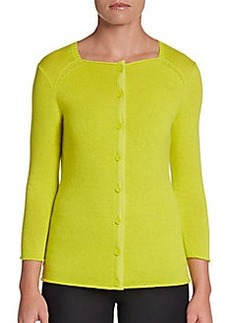 Lafayette 148 New York Square-Neck Cashmere Cardigan