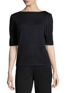St. John Tie-Neck Knit Sweater, Onyx
