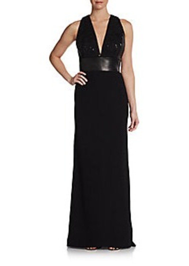 Carmen Marc Valvo Halter Leather-Waistband Gown