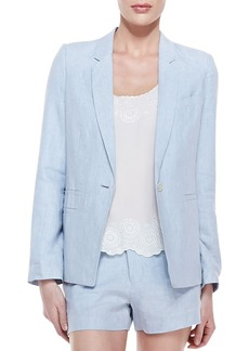 Joie Mehira B Linen One-Button Blazer, Chambray