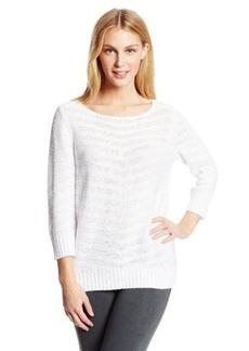 Jones New York Women's Three Quarter Sleeve Boat Neck Pullover Sweater