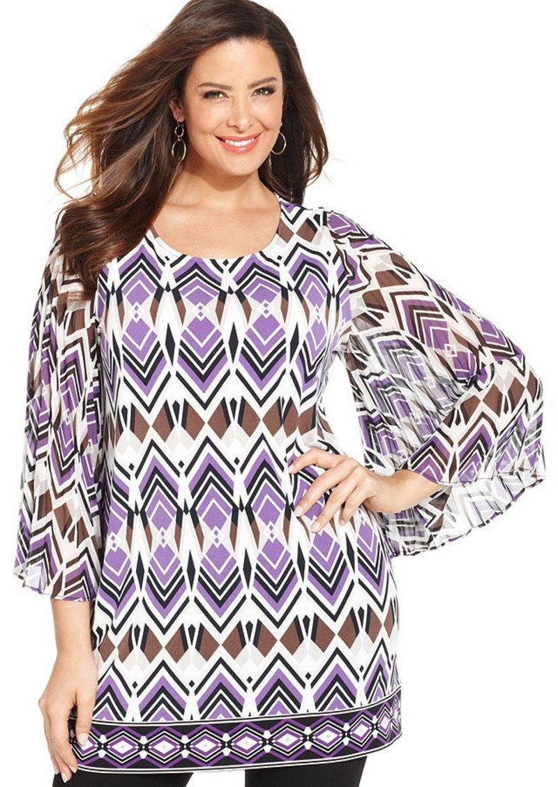 Alfani Plus Size Pleated-Sleeve Printed Tunic
