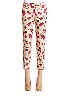 Michael Kors Printed Silk-Blend Slim Trouser