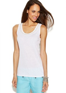 INC International Concepts Petite Beaded-Neck Tank Top