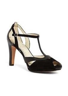Calfskin and Suede Peep Toe T-Strap Heel