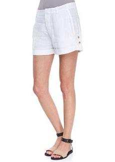 Vince Tab-Side Cuffed Linen Shorts