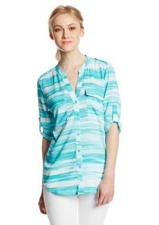 Calvin Klein Women's Print Crew-Neck Roll-Sleeve Shirt