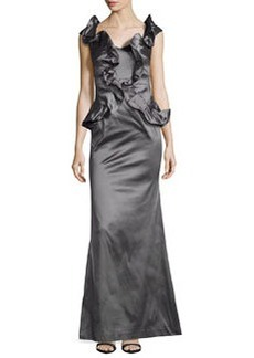 Kay Unger New York Ruffle-Front Satin Trumpet Gown, Smoke