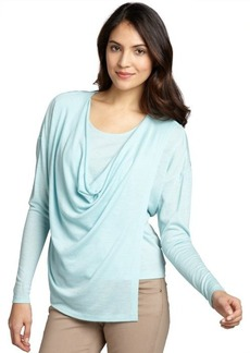 Lafayette 148 New York sea blue wool cowl neck long sleeve wrap blouse