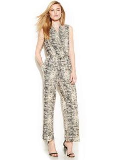 Calvin Klein Sleeveless Printed Belted Jumpsuit